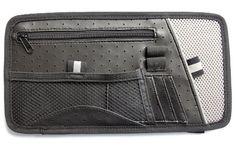 Type S - Organizador para parasol (múltiples bolsillos, imitación de piel, malla), color gris