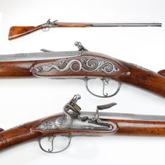 """John Cosens Flintlock Fowler - Made in London by John Cosens, this 10-gauge flintlock fowler bears the royal cipher of King James II of England. It was made in 1685, the same year as James II's coronation. Charles II, James' predecessor, bestowed the title of """"gunmaker-in-ordinary"""" upon him, making Cosens a regular firearms supplier to the king. At a later date, it was in the collection of the Duke of Argyll. At the National Sporting Arms Museum in Springfield, MO."""