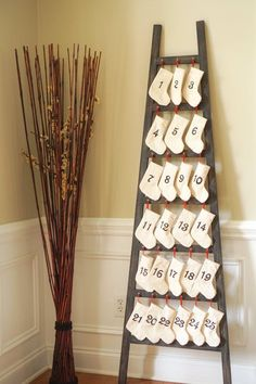 SALE Christmas Advent Calendar Ladder by LifeandSawDust on Etsy Diy Christmas Decorations Easy, Christmas Crafts, Holiday Decor, Christmas Ideas, Christmas 2016, Merry Christmas, Xmas, Advent Calenders, Craft Stores