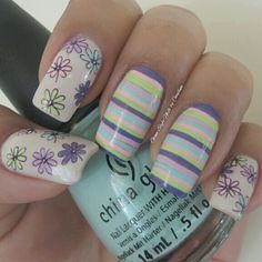 """STRIPS & FLOWERS MIX WITH """"COLOR FLOURISH""""  Hi girls! Finally finish the 2nd design with the other part of the polishes for the China Glaze collection. It looks like a pastel but bright colors. I like at the end how this look! What about you? See you tomorrow with more designs! Nice Nails, Gorgeous Nails, Fun Nails, Spring Nail Art, Spring Nails, Nail Polish Designs, Nail Art Designs, China Nails, Floral Nail Art"""