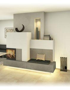 Modern and traditional tiled stove - Sigmund Home Living Room, Room Design, Home Fireplace, Tile Design, Bedroom Interior, Home Decor, Modern Fireplace, Interior Design, Home And Living