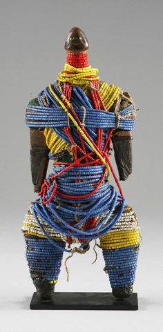 Africa | Doll from the Dowayo (aka the Namji) people of Cameroon | Wood, glass beads and metal