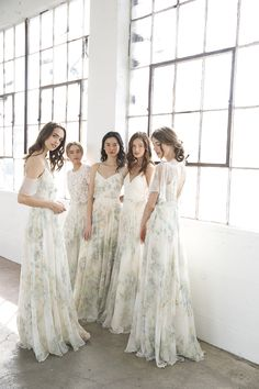 Mix + Match Vintage Floral Bridesmaid Dresses + Separates by Jenny Yoo // lace topper // chiffon skirts