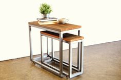 Reclaimed Wood and Steel Nesting Tables by foundpurpose on Etsy