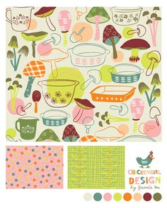 Mushroom and Casseroles #Pattern #Design by @Jannie Ho