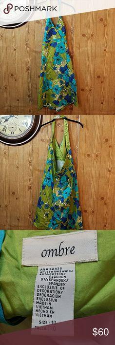 ?Ombre Halter Dress? Green Floral Ombre Halter Dress Ombre Dresses