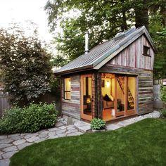 The Backyard House. I wish I had a backyard big enough to build a tiny backyard house. The Backyard House. I wish I had a backyard big enough to build… Future House, Modern Shed, Cabin In The Woods, Backyard Retreat, Backyard Office, Backyard Studio, Backyard Cottage, Cozy Backyard, Rustic Backyard