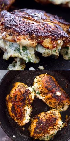 Chicken breasts stuffed with a creamy spinach, parmesan, mozzarella, and cream cheese filling and pan seared to perfection. The result is tender cooked chicken filled with a gooey trio of cheese that will melt in your mouth. Healthy Cooking, Healthy Dinner Recipes, Low Carb Recipes, Healthy Eating, Cooking Recipes, Cooking Fails, High Protein Recipes, Cooking Videos, Easy Cooking