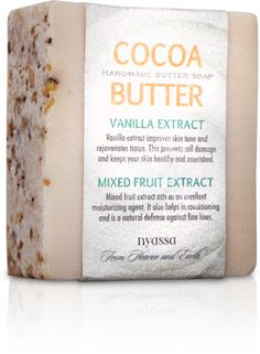 From http://nyassabathandbody.com/ Cocoa Butter Handmade Soap with Vanilla Extracts and Dry Fruits Extract that rejuvenates tissues, keeps the skin healthy and defense against wrinkles.