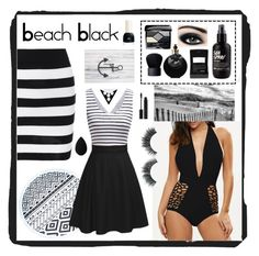 """""""Beach Black"""" by beanpod ❤ liked on Polyvore featuring Christian Dior, Valentino, NARS Cosmetics, Sisley, Max Factor, Illamasqua, Kat Von D and beautyblender"""