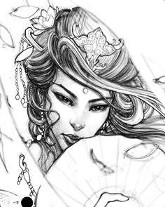 #geisha #sketch #drawing #illustration #sketchbookpro #ipadpro #irezumi #chronicink #asianink #tattoo