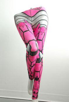 Bionic Leggings  Size L Hot Pink  Printed Metal Robot by Mitmunk