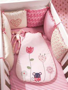 Tour de lit bébé modulable chambre souris'zette ROSE MOYEN UNI AVEC DECOR…