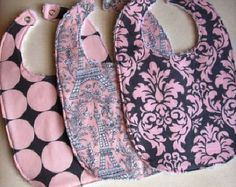Girls Baby Bibs, Set of 3, Michael Miller Pink Eiffel Tower, Pink Damask, Disco Dot with White Chenille- Custom Baby Bibs