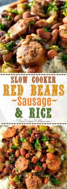Slow Cooker Red Beans Rice with Sausage Classic Crock Pot Creole! YUM :) www. Red Beans And Rice Recipe Crockpot, Sausage Crockpot Recipes, Slow Cooker Red Beans, Crockpot Dishes, Crock Pot Cooking, Slow Cooker Recipes, Crockpot Meals, Crock Pots, Cajun Recipes