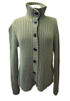 ec2ead1f031 Ruff Hewn Womens L Ribbed Sweater Fitted Cotton Snap Front LS Wide Collar  Heavy