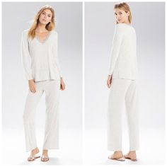 818100f37ff67 Natori Feathers Essentials PJ Set Jersey Pajamas Size Medium PJS New NWT  Grey #Natori #PajamaSets