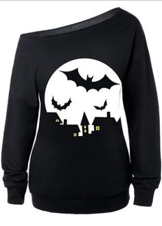 Bat Print Skew Neck Black Long Sleeve Sweatshirt  on sale only US$26.87 now, buy cheap Bat Print Skew Neck Black Long Sleeve Sweatshirt  at lulugal.com