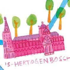 Another crop of illustrated map for @mestmagazine #10: 's Hertogenbosch.  By Marjolein Schalk.  #denbosch #mestmag #illustratie #duitslijntje #illustration #ink #illustratedmap #church #cathedral #brabant #dutch