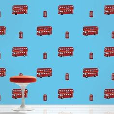 Wish decorating flowed as smoothly as the Thames on a moonlit night? This London-loving red and blue removable wallpaper can transform your space without making a mess.Half kit: 2 rolls of wallpaper.Dimensions: Each roll is x Kids Wallpaper, Vinyl Wallpaper, Peel And Stick Wallpaper, Wall Candy, Peel And Stick Vinyl, Design Repeats, London Bus, Contemporary Wallpaper, Mid Century Modern Design