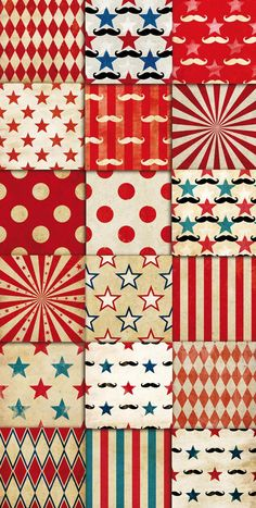 Circus Vintage Patterns Digital Paper Pack 01 by DADARTDESIGN