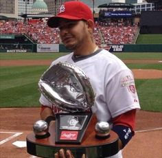 Gold and platinum glove. Not only best catcher in the NL but also best defensive player overall Yadi! St Louis Baseball, St Louis Cardinals Baseball, Stl Cardinals, Cardinals Players, See Games, Mlb Stadiums, No Crying In Baseball, Busch Stadium, Better Baseball