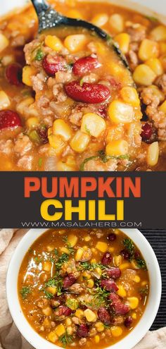 Fall Pumpkin Chili Recipe - Hearty and wholesome chili with ground beef meat, beans, corn and of course pumpkin puree. Quick and easy healthy dinner meal idea. www.MasalaHerb.com
