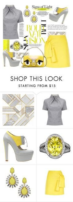 """Yellow & Grey"" by felicia-mcdonnell ❤ liked on Polyvore featuring Karen Millen, J. JS Lee, Alepel, ABS by Allen Schwartz, Victoria, Victoria Beckham, Fendi, fendi, victoriabeckham, polyvoreeditorial and alepelpruga"