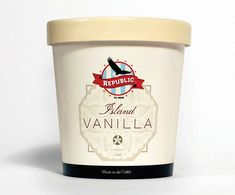 Republic Ice Cream Packaging on Behance Ice Cream Packaging, Beverage Packaging, Food Packaging, Brand Packaging, Packaging Design, Best Ice Cream, Vanilla Ice Cream, Affogato Recipe, Ice Cream Brands