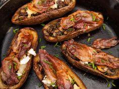 Elevated Potato Skins recipe from Guy Fieri via Food Network Potatoe Skins Recipe, Sweet Potato Skins, Yummy Appetizers, Appetizer Recipes, Appetizer Ideas, Pomegranate Glaze Recipes, Roasted Summer Vegetables, Healthy Superbowl Snacks, Greek Salad Recipes