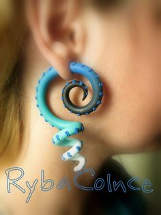 Fake ear tentacle gauges  Faux gauge / Gauge by RybaColnce on Etsy, $26.00