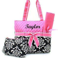 8515c3871e2 ... Diaper Bag Monogrammed Diaper Bag Diaper Bag for Girl by  TurtleCoveStudio on Etsy  https   www.etsy.com listing 251863001 black-and-pink-bloom-diaper-bag