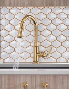 JRL Interiors — New Kitchen and Bath Trends for 2019 Brizo kitchen faucet in a polished gold finish Gold Kitchen Faucet, Gold Faucet, Kitchen Fixtures, Bathroom Faucets, Kitchen And Bath, New Kitchen, Kitchen Backsplash, Kitchen Buffet, Kitchen Chairs