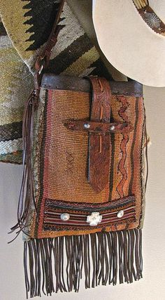 """The """"Adobe"""", vintage bridle leather, sterling buttons and vintage ethnic textiles. Cowgirl Chic, Cowgirl Style, Western Style, Handmade Purses, Handmade Handbags, Leather Tooling, Leather Purses, Leather Backpack, Leather Bag"""