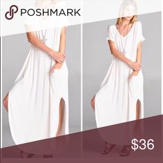 Ivory Slouchy Oversized Maxi Dress Best selling style made in USA . Not sheer yet recommend nude under Garments . Side pocket maxi dress with oversized slouchy look . Available in other colors in my closet . Large will fit XL as it runs big and posting as such for search purposes . Pastel Vivacouture Dresses Maxi
