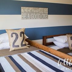 Twin boys room tour on the blog along with some funny stories about my little duo today. #twinboys #homedecor #stripes #nuetrals #blue #vintagesigns #burlap #tornadotwins #littlebitsofeverythinginc