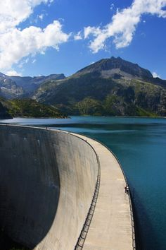 Emosson dam and lake. Lac d'Emosson is a reservoir in the canton of Valais, Switzerland.