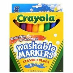 Binney & Smith Crayola(R) Washable Wedge Tip Markers, Assorted Colors, Box Of 8 by Binney & Smith. $5.98. Typical Use: School Supplies / Drawing / Markers. Sold as Set of 8. Crayola Brand of Products. Short name: Marker Crayola Washable Wedge Classic Set Of 8. All the classic colors are here: black, blue, brown, green, orange, purple, red, and yellow! Each pack of Crayola Washable Markers comes with eight boldly colored markers.Crayola Washable Markers are formu...