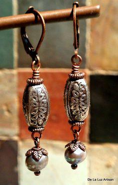 Paula Earrings. $10.00, via Etsy.  Freshwater Pearls, Antiqued Silver, Antiqued Copper.