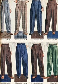 I loved these men's slacks. I guess because my Dad wore them….(aw) Sears,… I loved these men's slacks. I guess because my dad wore them …. (aw) Sears, Roebuck and Co. Fashion 60s, 1940s Mens Fashion, Fashion History, Fashion Boots, Style Fashion, Womens Fashion, Vintage Clothing, Vintage Outfits, Mens Slacks