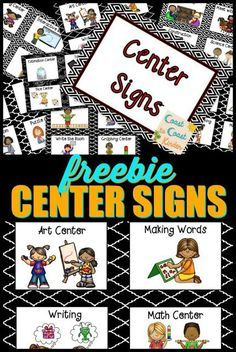 FREE***Signs and tips on how to manage centers and the rotation. My system for running 8 different centers daily in my classroom. Preschool Center Labels, Kindergarten Centers, Kindergarten Classroom, Literacy Centers, Preschool Classroom Labels, Kindergarten Center Rotation, Daycare Labels, Center Chart, Center Rotation Charts