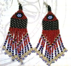Native American Beauty of Red Dangle Beaded by LakotaCharm on Etsy, #beadwork