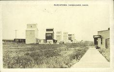 postcard grain elevator   Description: View of the row of grain elevators in Vanguard, Manitoba.
