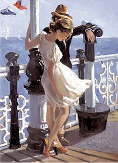 Sherree Valentine-Daines, 1956 ~ Impressionist painter - Pam Miller - It is The Time Club Jack Vettriano, Illustration Art, Illustrations, Contemporary Abstract Art, Impressionist Art, Beautiful Paintings, Romantic Paintings, Love Art, Painting & Drawing
