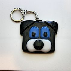 Handmade Stained Glass Key Chain - Dog Face - ADORABLE! in Pottery & Glass, Glass, Art Glass, Paperweights, Other Art Glass Paperweights | eBay