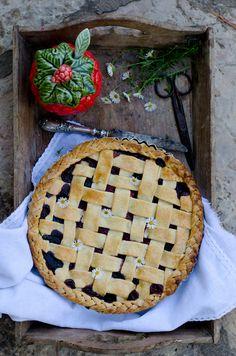 Almond, berry rhubarb pie