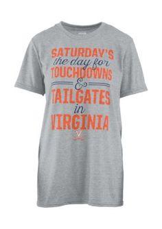 Royce Women's Virginia Cavaliers Touchdowns And Tailgates Melange Short Sleeve Tee Shirt - Heather Gray