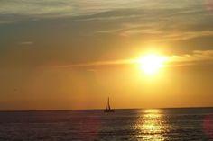 Atlantic Sunset and Sail Boat