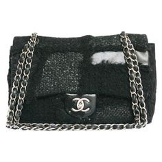Limited Edition Winter 2010 Chanel bag patchwork tweed and black leather.