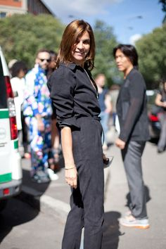 STREET STYLE SPRING 2013: MILAN FW - Carine Roitfeld works a jumpsuit.